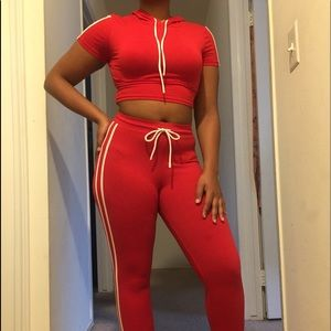 Red Two Piece Track Set Crop Top and Leggings